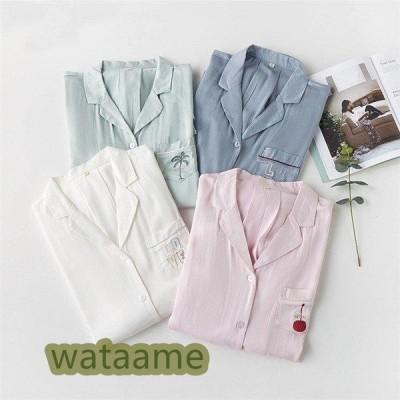 レディース  シャツパジャマ ワンピース パジャマ 綿100% ルームウェア 部屋着 ナイトウェア ネグリジェ 無地 寝巻き 可愛い シンプル 女性パジャマ