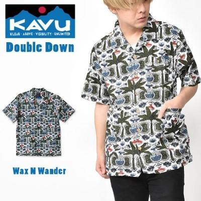 半袖 シャツ KAVU カブー Double Down ダブルダウン メンズ 柄シャツ  総柄 アウトドア 2020夏新作 得割27 送料無料