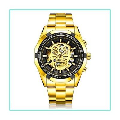 【新品】Wrist Watch Men Skeleton Automatic Mechanical SIBOSUN Steampunk Skull Stainless Steel Analog Black Gold(並行輸入品)