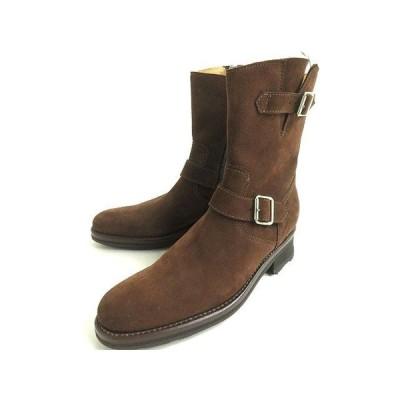 未使用品▼GERARD SENE ジェラールセネ ベルト付き サイドZIP スウェードレザー ブーツ 6 1/2 ブラウン 保存袋付き