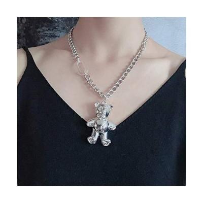 YERTTER Dainty Unique Punk Layering Chain Choker Necklace Boho Jewelry Set Layered Bear Pendant Statement Chunky Chain Necklace for Women Ma