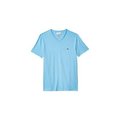 ラコステ Short Sleeve V-Neck Pima Jersey Tee メンズ シャツ トップス Barbeau Blue
