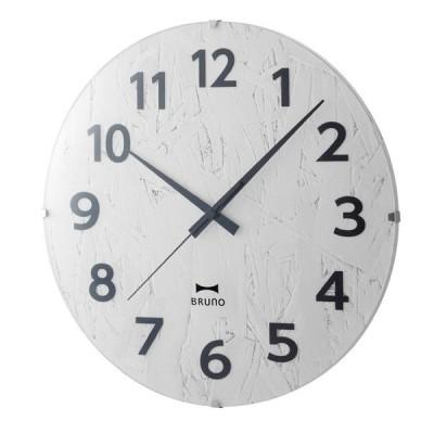 壁時計 電波時計 BURUNO(ブルーノ) 電波モノクロウッドクロック ホワイト BCR013
