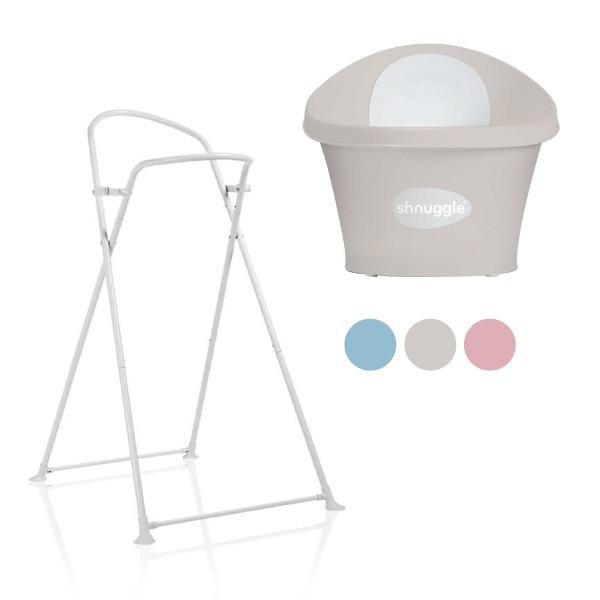 英國 Shnuggle 月亮澡盆-感溫水塞版(3色可選)+澡架組合【總代理公司貨】【麗兒采家】