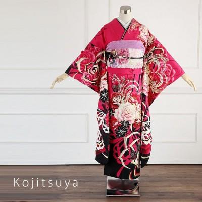 振袖 レンタル フルセット 正絹 着物 結婚式 成人式 身長150-165cm 赤 re-033