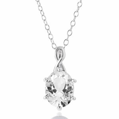 """BIRTHSTONE White Rhodium over .925 Sterling Silver & Oval Cut White Topaz 18"""" Infinity Drop Pendant Necklace"""