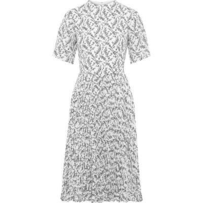 ミカエル アガール MIKAEL AGHAL レディース ワンピース ワンピース・ドレス pleated floral-print crepe de chine dress White