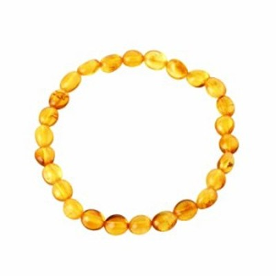 Baltic Amber Adult Bracelet - Honey Color- 7.8 inches Long - Elastic Band: One Size Fits All - Anti-inflammatory - Pain Relief w