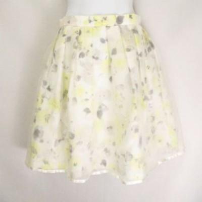 【中古】レストローズ L'EST ROSE オーガンジーフラワースカート 花柄 総柄 リボン装飾  オフホワイト系ベース 2