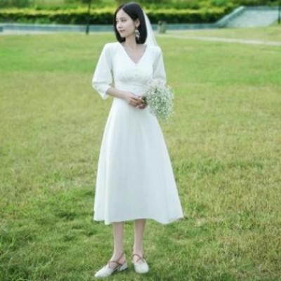 ウェディングドレス ミモレ丈 二次会 花嫁ドレス ワンピース 結婚式 ドレス パーティードレス 膝丈 ミモレ 袖あり おしゃれ シンプル 可