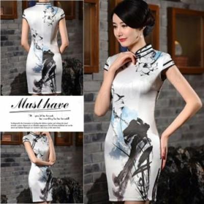 チャイナドレス ミニ チャイナドレス 服 チャイナドレス 大きいサイズ チャイナドレス セクシー 半袖 上品 水墨画のプリント