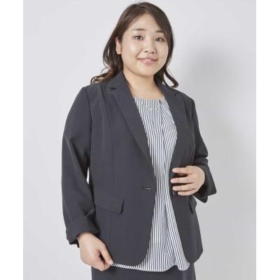 【エウルキューブ】 さらりとした着心地のテーラードジャケット レディース ブラック 15 eur3( 大きいサイズ)