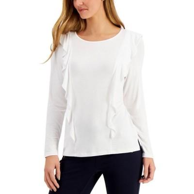 チャータークラブ Charter Club レディース トップス Petite Ruffled Long-Sleeve Top Bright White