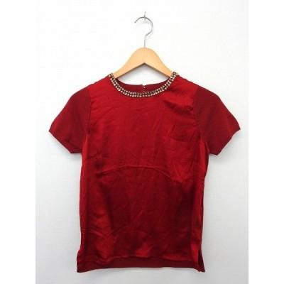 ジャスグリッティー JUSGLITTY Tシャツ カットソー 半袖 異素材 ストーン 2 レッド 赤 /UT15 レディース【中古】【ベクトル 古着】