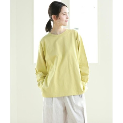 【パオデロ】 フードテキスタイル天竺ジャージロゴTシャツ レディース イエロー 7号 Pao de lo