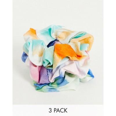 グラマラス Glamorous レディース ヘアアクセサリー Exclusive x3 pack tie dye scrunchies マルチカラー