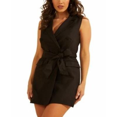 ゲス レディース ワンピース トップス Double-Breasted Sleeveless Dress Jet Black