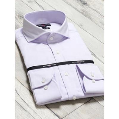 綿100% 形態安定 スリムフィット カッタウェイ長袖ビジネスドレスシャツ/ワイシャツ