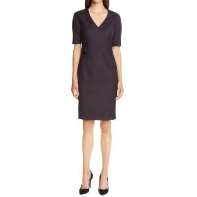 ボス レディース ワンピース トップス Dibelo V-Neck Short Sleeve Dress GRAPE MINI HOUNDSTOOTH