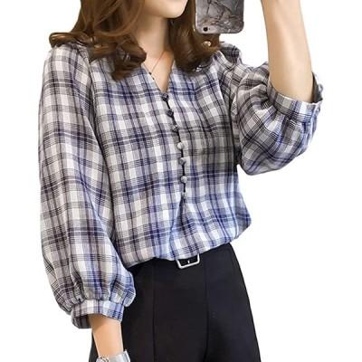 ギンガムチェック tシャツレディース半袖 tシャツレディース長袖 tシャツレディース半袖ゆったり 白ブラウス 七分丈(ブルー, 2XL)