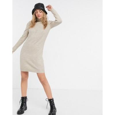 ピンキー Pimkie レディース ワンピース ワンピース・ドレス Knitted Roll Neck Dress ベージュ