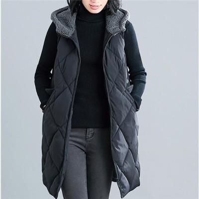中綿ベスト レディース ノースリーブ トップス ロング 可愛い フード付き チョッキ 秋 冬 暖かい あったかい