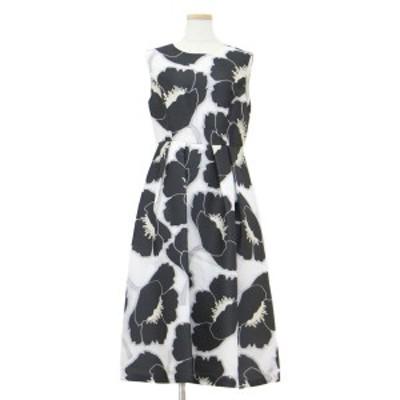 GRACE CLASS グレースクラス ワンピース ドレス ノースリーブ ひざ下丈 フラワージャガード 花柄 ホワイト×ブラック 白 黒 38(M) 【レデ
