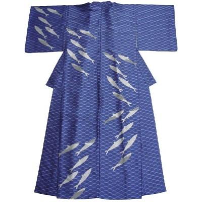 着物 浴衣 単品 レディース 絹 シルク 単衣 フォーシーズン着用 魚  正絹単衣の着物 兼ゆかた サカナ ブルー