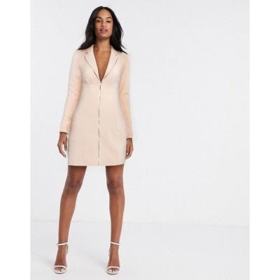 リバーアイランド レディース ワンピース トップス River Island zip front blazer dress in pink Pink