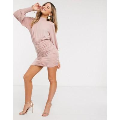 ジョンザック ミニドレス レディース John Zack exclusive high neck ruched skirt mini dress in pink エイソス ASOS ピンク