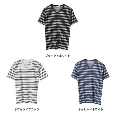 先染めダブルボーダーVネック半袖Tシャツ