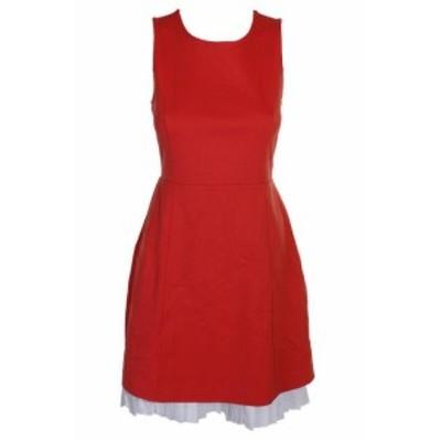 Maison  ファッション ドレス Maison Jules Tomato Red Sleeveless Pleated Contrast A-Line Dress S
