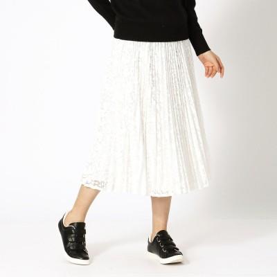 コムサイズム COMME CA ISM レース プリーツスカート (ホワイト)