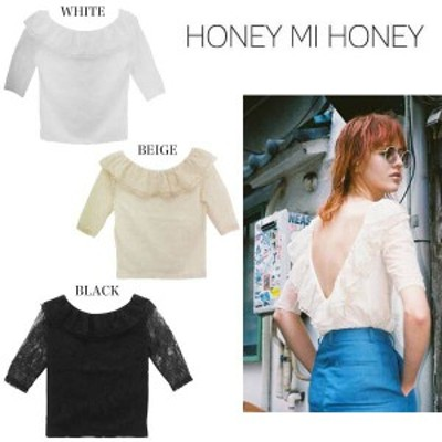 SALE40%OFF Honey mi Honey ハニーミーハニー lace offshoulder cutsew カットソー 17s-wv-17