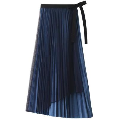AULA アウラ 【AULA AILA】デニム2WAYプリーツスカート レディース BLUE 0