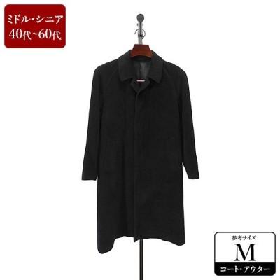 ALLEGRP ステンカラーコート メンズ Mサイズ 黒/ブラック アンゴラ コート 男性用 中古 ZQBQ10