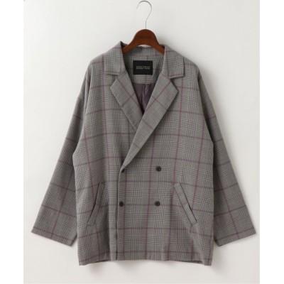 【ダブルネーム】 オリジナルチェックゆるジャケット レディース スミクロ FREE DOUBLE NAME