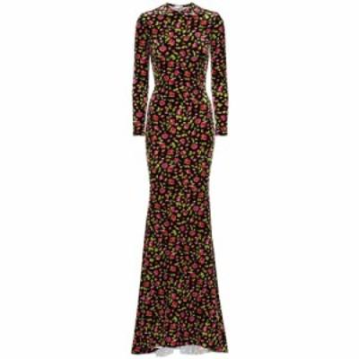 バレンシアガ Balenciaga レディース パーティードレス マキシ丈 ワンピース・ドレス Floral velvet maxi dress Black/Pink