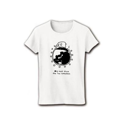 ゾウと地球一周 リブクルーネックTシャツ(ホワイト)