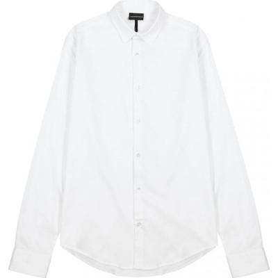 アルマーニ Emporio Armani メンズ シャツ トップス white stretch-cotton shirt White