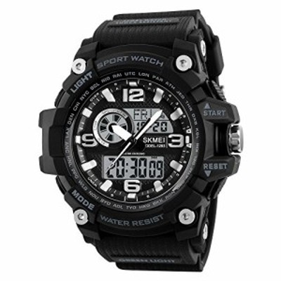 KXAITO Mens Watches Sports Outdoor Waterproof Military Watch Date Multi Function Tactics LED Alarm Stopwatch 1283Black