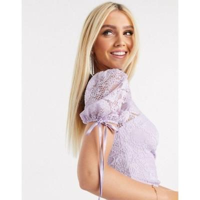 ラブトライアングル レディース ワンピース トップス Love Triange one sleeve lace mix mini dress in lilac Lilac
