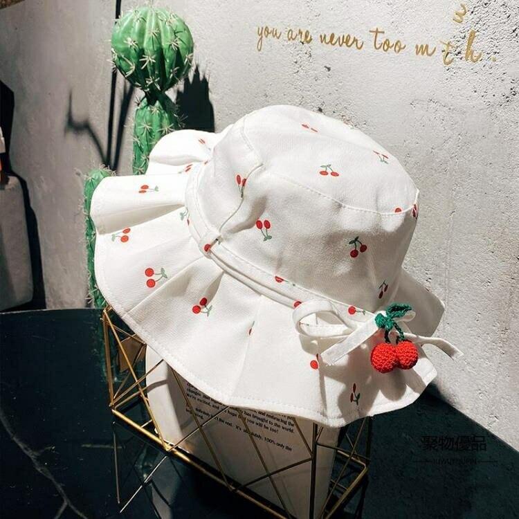 漁夫帽太陽帽兒童遮陽帽子小紅帽甜味櫻桃女童布帽春夏百褶邊寬檐【聚物優品】