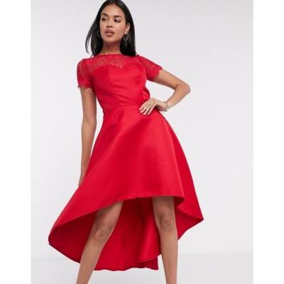 チチロンドン レディース ワンピース トップス Chi Chi London high low dress with lace detail in red Red