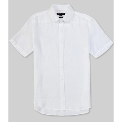 マイケルコース メンズ シャツ トップス Slim-Fit Linen Short-Sleeve Woven Shirt White