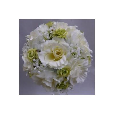 アートフラワー[造花]ブーケ/白バララウンドブーケ&グリーンミニバラ