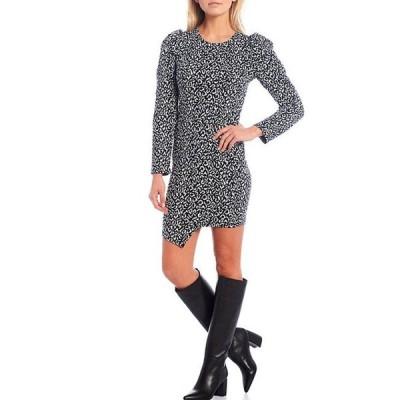 シュガーリップス レディース ワンピース トップス Tabitha Leopard Print Knit Puff Sleeve Bodycon Dress