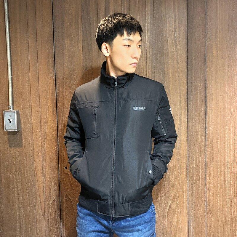 美國百分百【全新真品】Guess 防風外套 飛行夾克 男款 立領 騎士 軍裝 工裝 logo 黑色 M號 BD47