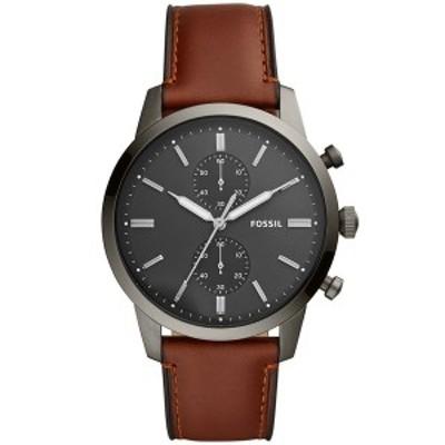 フォッシル レディース 腕時計 アクセサリー Men's Townsman Brown Leather Strap Watch 44mm Brown/Grey