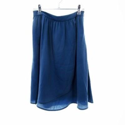 【中古】ケティ KETTY スカート フレア ひざ丈 無地 2 青 ブルー /MO レディース